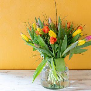 Tulpen op vaas laten bezorgen door Bloem en Plant in Musselkanaal (Groningen), het adres voor mooie, verse boeketten.
